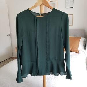 Banana Republic green flowy blouse